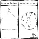 ground view and sky view of the church cartoon by nakedpastor david hayward
