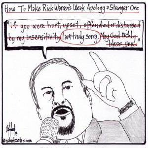 rick warren apology asian american evangelicals cartoon by nakedpastor david hayward