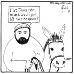 jesus rides a donkey cartoon by nakedpastor david hayward