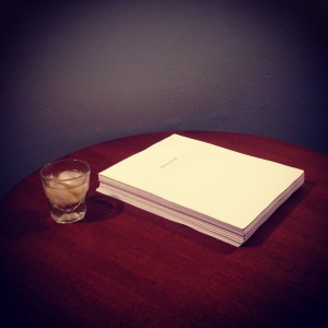 My finished manuscript and the bourbon that celebrates it.