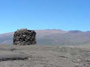 stone structure, possibly a prehistoric marker or lele (altar), in the saddle between Mauna Loa and Mauna Kea, Hawaii,