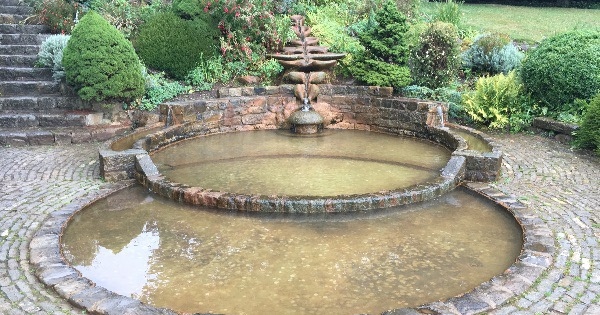 The sacred waters at the Chalice Well in Glastonbury England.