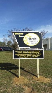 A sign welcoming visitors to Harris County, Georgia, is seen in an undated handout picture courtesy of Sheriff Mike Jolley