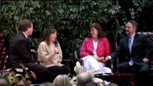 Michelle Duggar being awarded Vision Forum's Mother of the Year with Beale and Doug Phillips