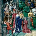King Clovis I using the royal touch at his coronation to heal a man of scrofula.