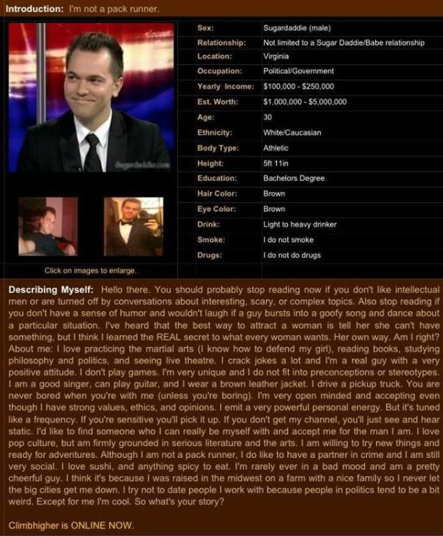 Screenshot of Petersen's dating profile.