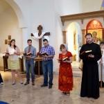 The Gospel (John 20:19-25) from right:  Estonian, Greek, French, Church Slavonic, Romanian, Spanish.