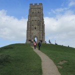 The ruin of St Michael Church atop Glastonbury Tor.