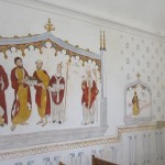 Portrayed on the North Wall:  St David [of Wales] holding a model of the early Abbey; Ss Phagan and Deruvian, second century missionaries; St Dunstan, Glastonbury's most significant abbot; and, Abbot Richard Whiting - who was hung, drawn and quartered during the Dissolution of Monasteries (1539).