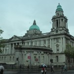 A quick passing rearview shot of the magnificent Belfast City Hall.