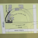 A map produced by the city which shows a diagram of the ancient Roman auditorium, and the location of St Helen's Chapel, built upon the foundation/walls of the theatre, possibly dating from the 8th century.