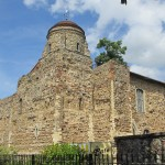 Colchester Castle -- At one and a half times the size of the Tower of London's White Tower, Colchester's keep is the largest ever built in Britain and the largest surviving example in Europe [Wikipedia].  Construction was begun in around 1070, halted due to Viking threat in 1080, and completed in 1100.