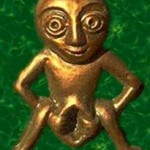 Gold man green background