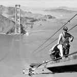 Golden Gate Bridge being built