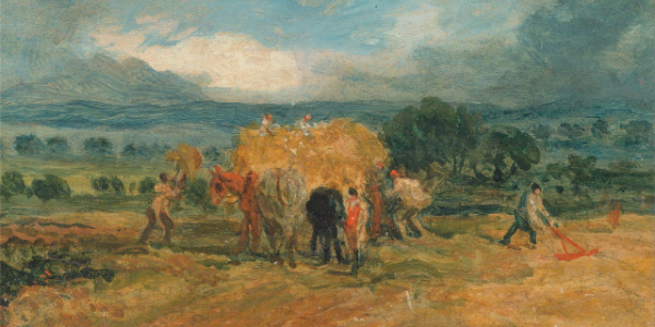 """A Harvest Scene with Workers Loading Hay on to a Farm Wagon"" by James Ward.  From WikiMedia."