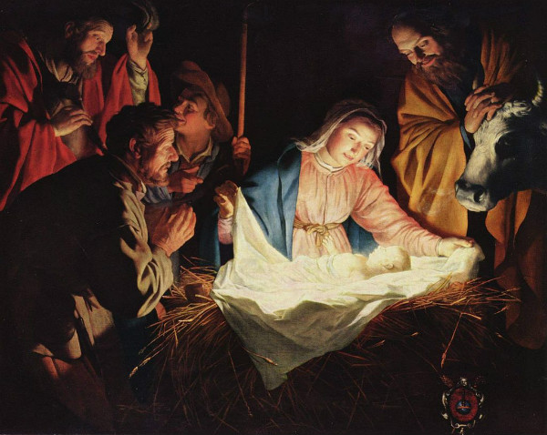 """Adoration of the Shepherds"" by Gerard van Honthorst.  From WikiMedia."
