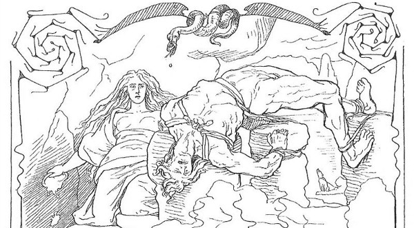 "Loki knows suffering.  ""Loki and Sigyn"" by Frølich.  From WikiMedia."