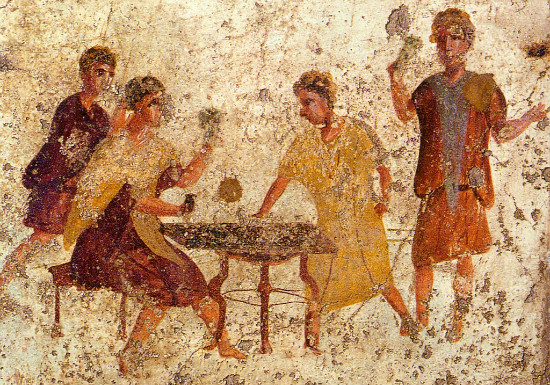 Dice playing in Pompeii (fresco) from WikiMedia.
