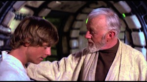 Obi-Wan and Luke in the Millennium Falcon, from Lucasfilm.