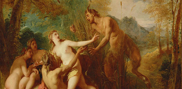 """Pan and Syrinx"" by Jean Francois de Troy.  From WikiMedia."