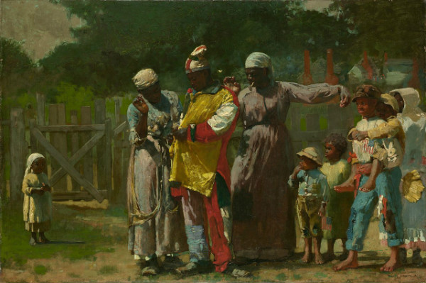 """""""Dressing for the Carnival"""" by Winslow Homer.  From WikiMedia.  An African-American family practicing """"John Canoe"""" a Wassail-related Christmas Custom."""