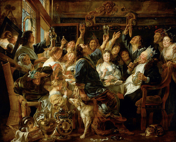 """""""The Bean King"""" by Jacob Jordaens.  From WikiMedia.  """"Bean King"""" was another version of the Lord of Misrule."""