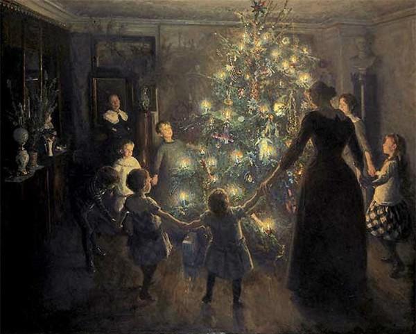 """Happy Christmas"" by Viggo Johnson.  Notice the lack of Jesus.   From WikiMedia."