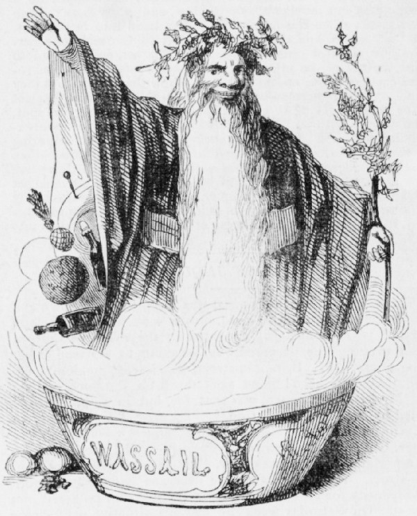 """Pour me some wassail!  """"The London News"""" from 1842.  From WikiMedia."""