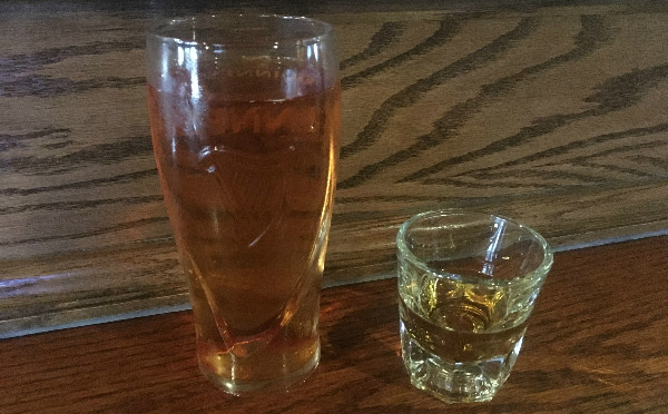 Whisky shot and a cider.  You know it's serious.
