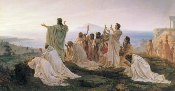 """Pythagoreans Celebrate Sunrise"" by Fyodor Bronnikov.  From WikiMedia."