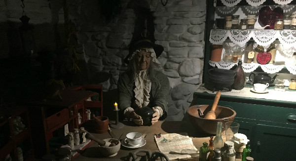 The village witch at the Museum of Magic and Witchcraft in Boscastle England.