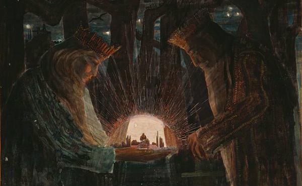 """Fairy Tale"" by Mikalojus Konstantinas Ciurlionis, 1909.  From WikiMedia."