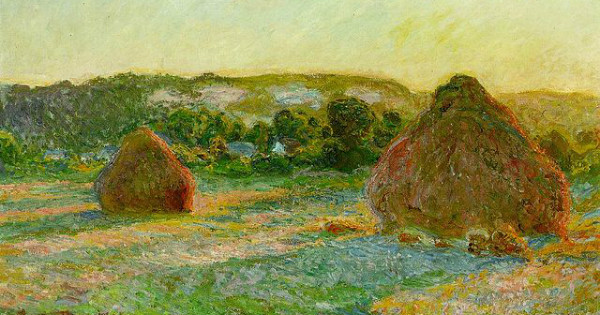 """""""Stacks of Wheat (End of Summer)"""" by Claude Monet."""