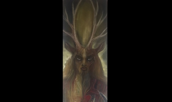 Cernunnos as he appears in my ritual room.  Artwork by Laura Tempest Zakroff