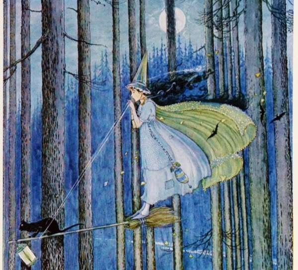 """The Witch on Her Broom Stick"" by Ida Rentoul Outhwaite.  From WikiMedia."