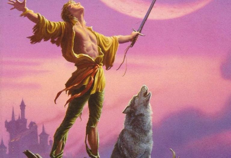 "Fitz Chivalry and Nighteyes.  From the cover of ""Royal Assassin.""  Artwork by Michael Whelan."