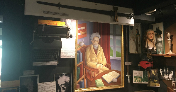 A portrait of Gerald Gardner at the Magic & Witchcraft Museum in Boscastle England.