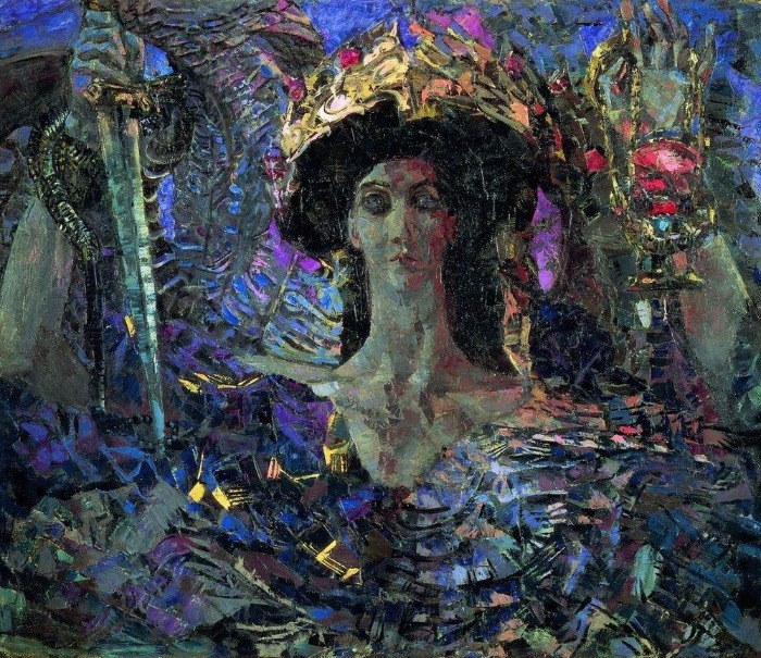 """""""Six-winged Seraph (Azrael)"""" by  [show] Mikhail Vrubel. From WikiMedia."""