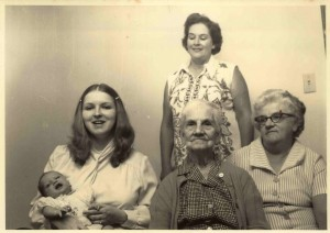 My mom holding my sister with her mother, grandmother, and great-mother.