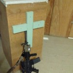 A stray M16 on my pulpit in Shukvani, Afghanistan