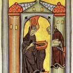 Hildegard receives a vision and dictated it to her scribe, from the Liber Scivias
