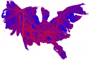 Red-blue map of the 2008 presidential election where each county is shown with the shade of purple that represents its result and a surface area that represents its population.© 2008 M. E. J. Newman