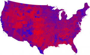 Red-blue map of the 2008 presidential election where each county is shown with the shade of purple that represents its result.© 2008 M. E. J. Newman