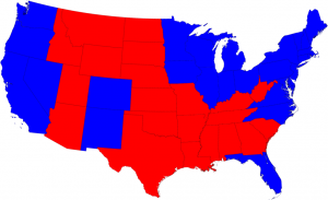 Typical red-state-blue-state map of the same 2008 presidential election results © 2008 M. E. J. Newman