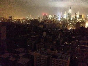 Looking uptown from within the downtown New York blackout caused by Hurricane Sandy.