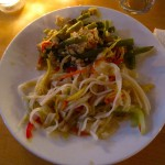 Thai Green beans with basil and rice noodle salad with fresh garden vegetables