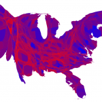 County map of the 2012 presidential election results with surface area altered to represent population and using shades of purple to represent vote © 2012 M. E. J. Newman
