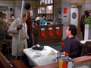 Festivus Pole scene from Seinfeld with Jerry Seinfeld and Jerry Stiller