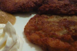 My latkes from Veselka this year. Photo: &copy 2012 Phil Fox Rose