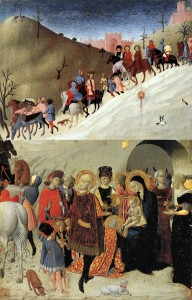 The Journey of the Magi and Adoration of the Magi, Sassetta (Stefano di Giovanni), 1435 -- Two panels, now separated; note the star in the Journey panel is over the infant Jesus in the Adoration panel. (Click through to see full-sized.)